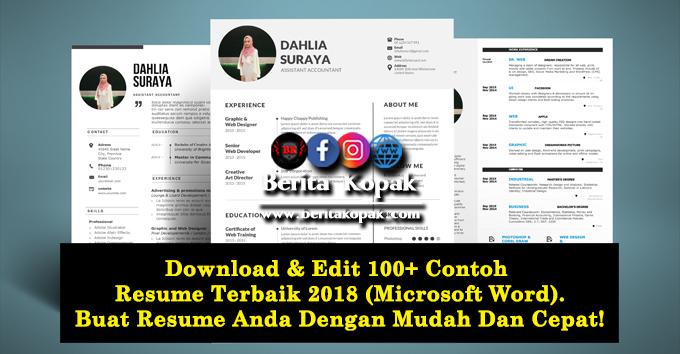 Download Edit 100 Contoh Resume Terbaik 2018 Microsoft Word